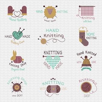Agulhas de tricô malhas de lã de logotipo ou logotipo de meias de lã tricotadas crochê materiais lanosos e tricô mão ilustração isolado no fundo branco