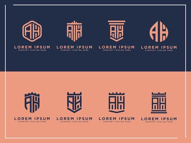 Ah letras iniciais conjunto de logotipo modelos iniciais