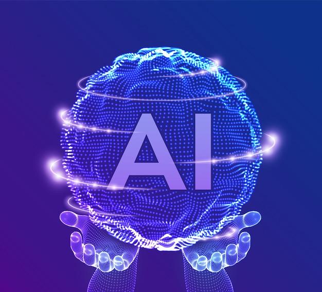 Ai artificial intelligence logo nas mãos. inteligência artificial e machine learning concept. onda de grade da esfera com código binário.