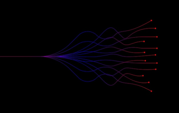 Ai artificial intelligence wave lines neural network luz roxa azul e verde isolada no fundo preto. vetor no conceito de tecnologia.