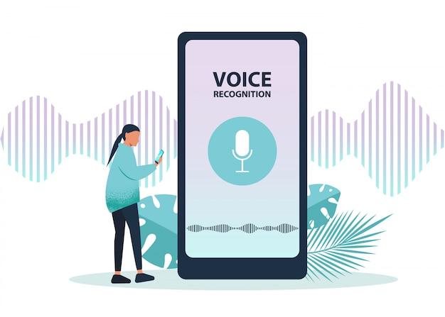 Ai, assistente de voz, interface de usuário moderna orientada a fala, conceito de redes de negócios