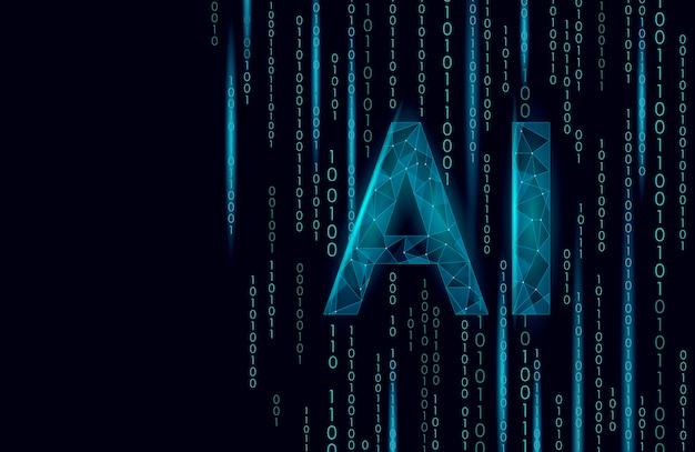 Ai cartas de inteligência artificial 3d. tecnologia de serviço de suporte de robô de símbolo geométrico de app assistente virtual. chatbot logo template low poly