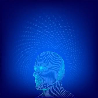 Ai. conceito de inteligência artificial. wireframe abstrato rosto humano digital.