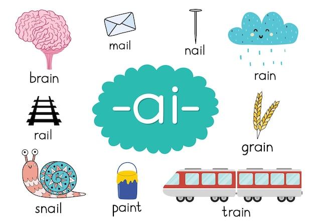 Ai dígrafo com palavras pôster educacional para ilustração de crianças