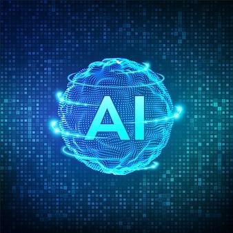 Ai. inteligência artificial e machine learning. onda de grade de esfera no fluxo de código binário digital da matriz. tecnologia de inovação de big data. redes neurais. ilustração.