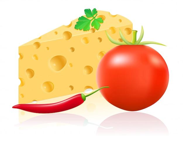 Ainda vida com queijo e legumes ilustração vetorial