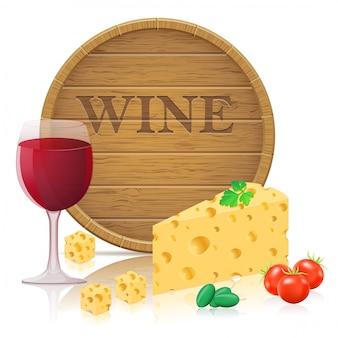 Ainda vida com queijo e vinho ilustração vetorial