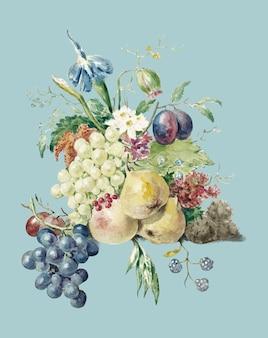 Ainda vida de flores e frutos por jean bernard (1775-1883).