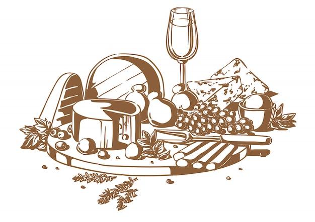 Ainda vida de um conjunto de queijos com uvas e vinho