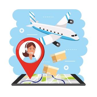 Aiplane transporte com informações de agente de call center de mulher e smartphone gps