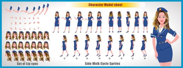 Air hostess character model sheet com animações de ciclo de caminhada e sincronização labial