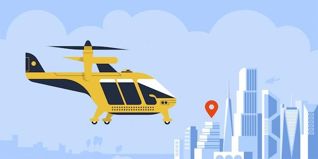 Air taxi drone passageiro quadcopter veículo voador