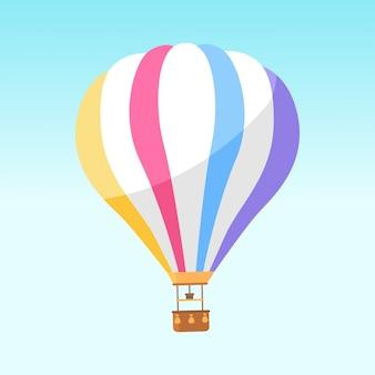 Airballoon com listras coloridas isolado