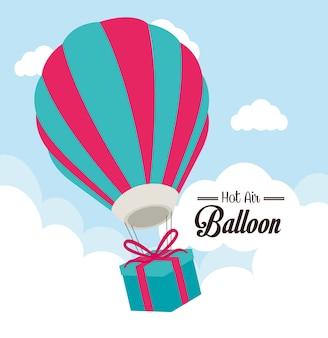 Airballoon design over cloudscape backgroundvector ilustração