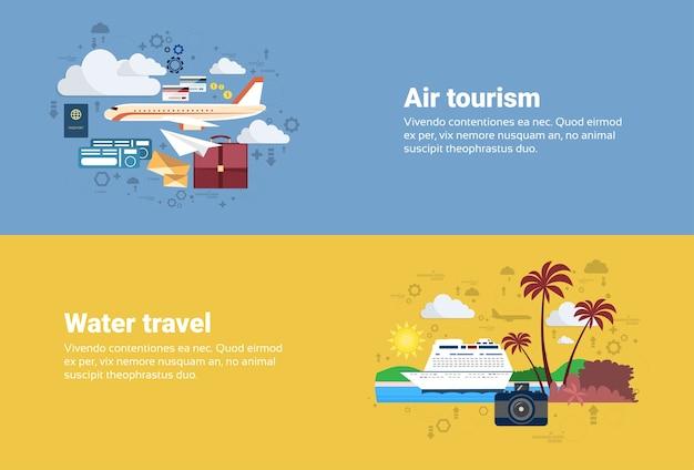 Airplane transportation air tourism, água viagens cruzeiro turismo web banner ilustração vetor plano