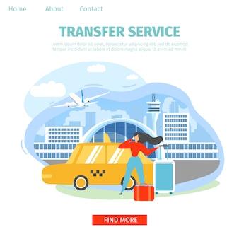Airport transfer service flat vector página inicial