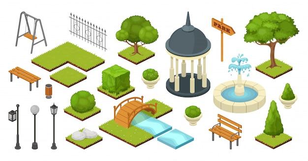 Ajardine os elementos exteriores da natureza do jardim na ilustração isométrica do parque isolada no branco. conjunto de jardinagem verão