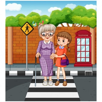 Ajuda a atravessar a rua