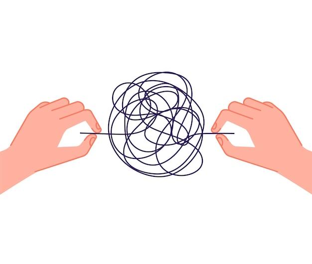 Ajuda de psicoterapia. metáfora do caos da mente, fios emaranhados de mãos desenredadas. tratamento de problemas de psicologia, conceito de vetor de transtorno depressivo mental. solução de metáfora de ilustração e resolução do caos
