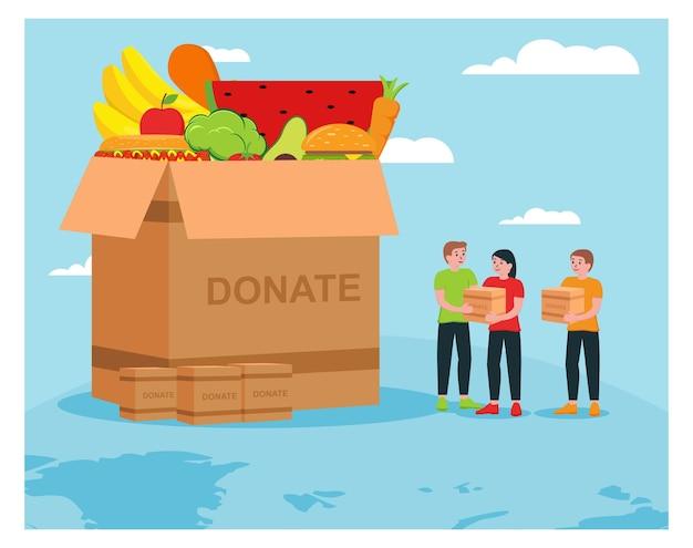 Ajuda humanitária doa alimentos