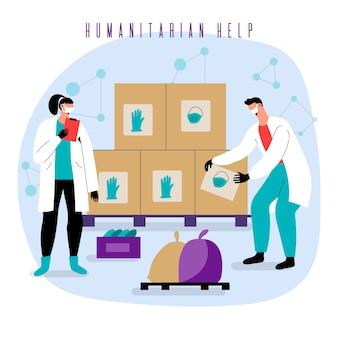 Ajuda humanitária e pessoas com caixas de entrega