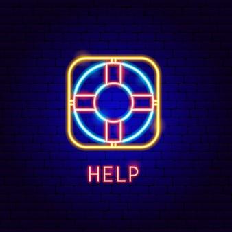 Ajuda neon label. ilustração em vetor de promoção de negócios.