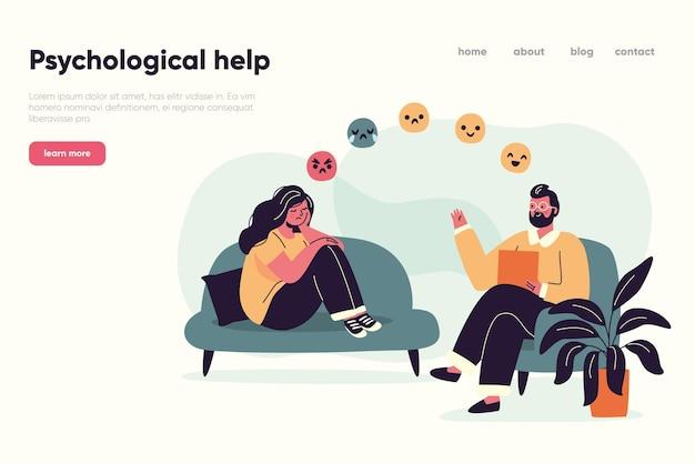 Ajuda psicológica de uma página de destino profissional