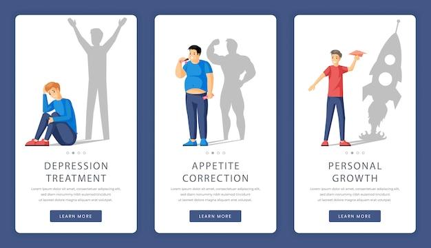 Ajuda psicológica e aconselhamento nas telas de aplicativos móveis.