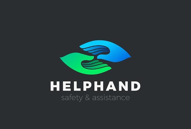 Ajuda suporte assistência logotipo segurança duas mãos.