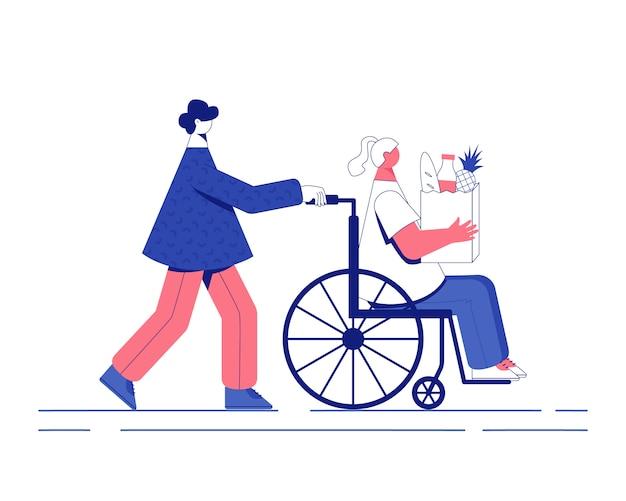 Ajuda voluntária desativada. mulher em uma cadeira de rodas ilustração.