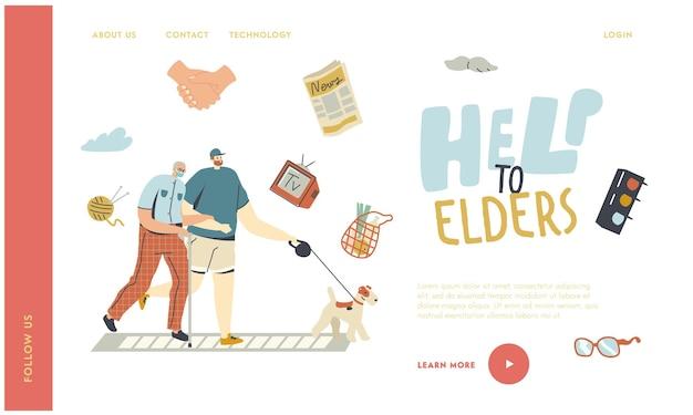 Ajudando e apoiando o modelo de página inicial de aposentados idosos.
