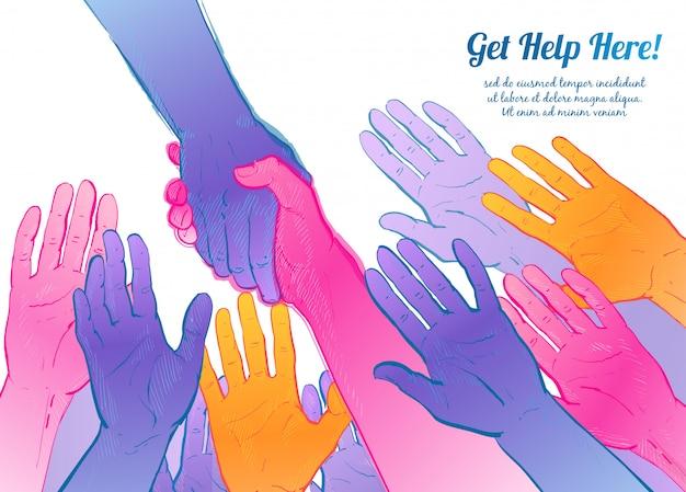 Ajudando, mão, conceito