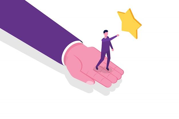 Ajudando os negócios a sobreviver. suporte, sobrevivência, conceito isométrico de investimento.
