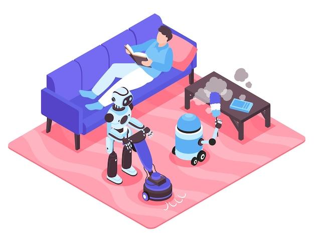 Ajudantes de robôs aspirando e limpando o pó enquanto o homem lê um livro no sofá ilustração isométrica