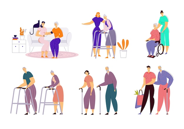 Ajudar idosos com deficiência em lares de idosos. assistente social comunitário de cuidado de idosos doentes