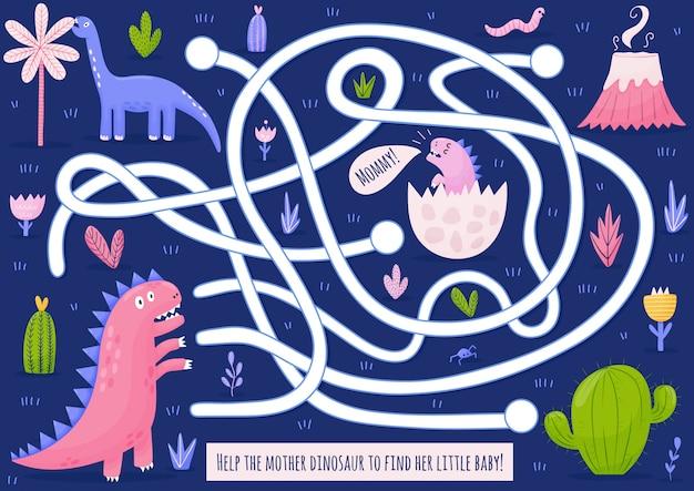 Ajude a mãe dinossauro a encontrar seu bebê. jogo de labirinto engraçado para crianças