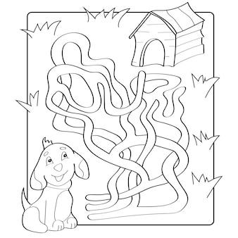 Ajude o cachorro a encontrar o caminho para sua casa. labirinto. jogo de labirinto para crianças. ilustração em vetor preto e branco para livro de colorir