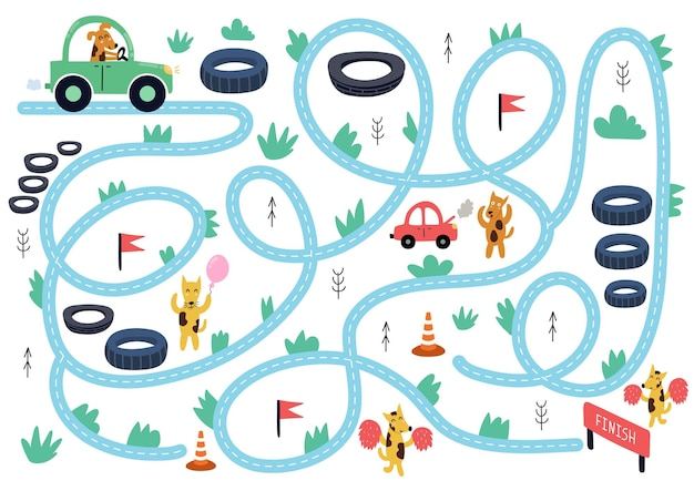 Ajude o lindo cão a dirigir para terminar o quebra-cabeça do labirinto para crianças página de atividades de corrida de carros com animais engraçados