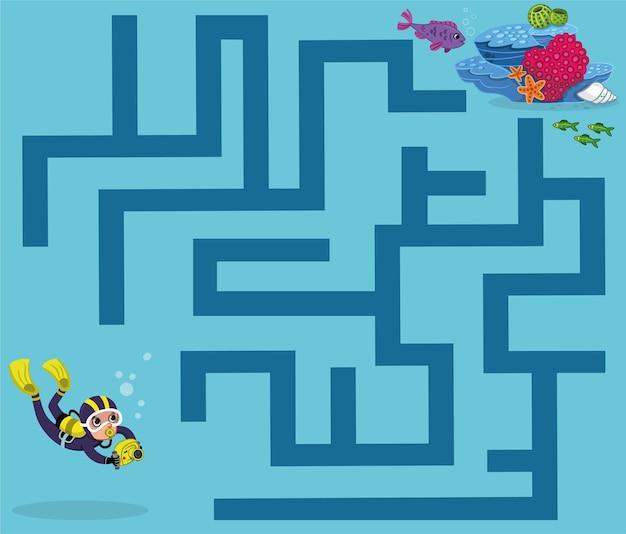 Ajude o mergulhador a enriquecer o jogo de labirinto de recife para crianças ilustração vetorial