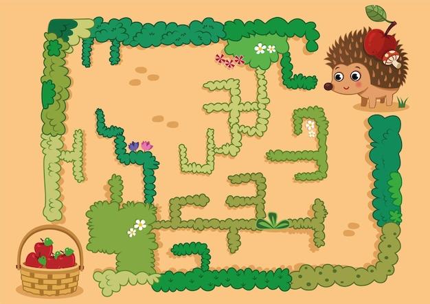 Ajude o ouriço a encontrar o caminho para a cesta de maçã no jogo de labirinto. ilustração vetorial