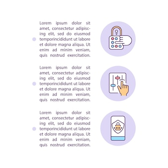 Ajustando as configurações de privacidade da conta ícones de linha de conceito com texto