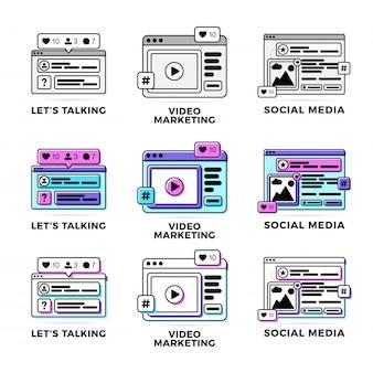 Ajuste a ilustração do vetor de um conceito social de uma comunicação dos meios. mídia social com janelas do navegador coloridas de plataforma cruzada