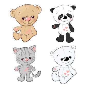 Ajuste a lebre do urso de peluche do gatinho do filhote da panda. desenho à mão. ilustração vetorial