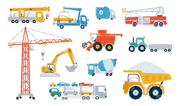 Ajuste a máquina de trabalho da construção isolada em um fundo branco. ícones crianças carros para design de quartos de crianças.