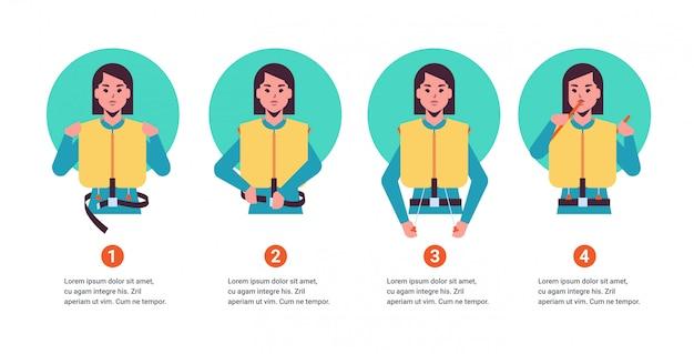 Ajuste a orientação da mulher da aeromoça que explica instruções de segurança com colete salva-vidas demonstração passo a passo como se comportar em situações de emergência
