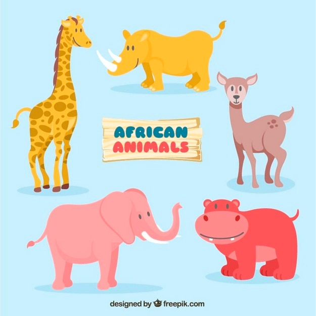 Ajuste de adoráveis animais africanos