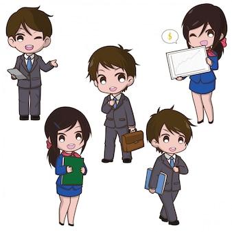 Ajuste desenhos animados bonitos da mulher de negócio, conceito de trabalho.