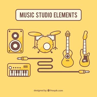 Ajuste elementos do estúdio de música em design plano Vetor grátis