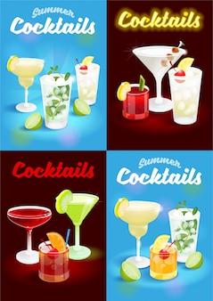 Ajuste o cartaz azul e escuro do verão da noite do sumário do fundo com os cocktail alcoólicos congelados gelo frescos que anunciam o negócio bar restaurante festa praia clube ilustração moderna.