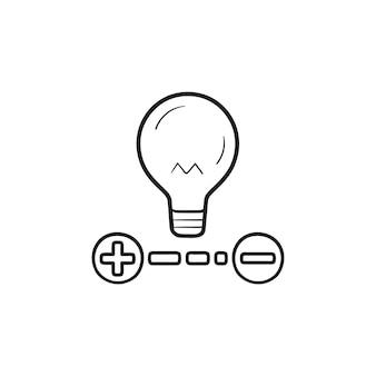 Ajuste o ícone de esboço desenhado de mão de brilho de lâmpada em casa inteligente. indicador de luz de energia, conceito de casa inteligente